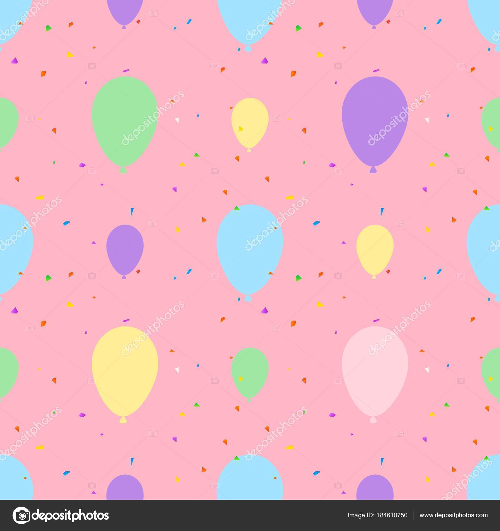 Balloon Seamless Pattern Vector Illustration On Pink Background Pastel Balloons Design For Textile Wallpaper Fabric By Werayuth