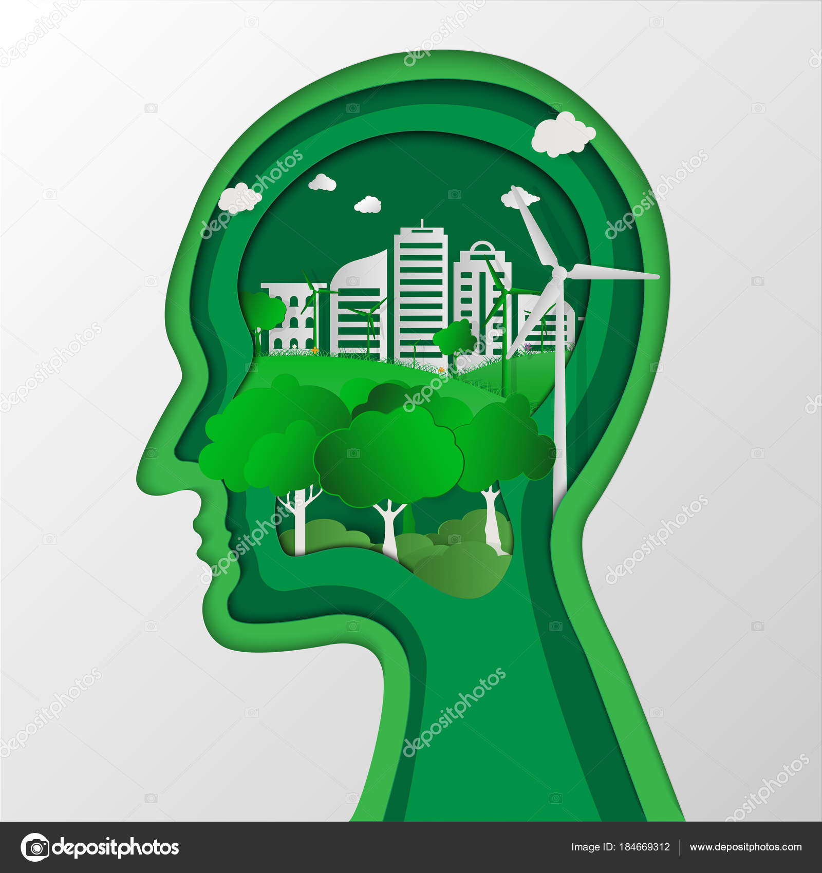Environmental Concept Earthfriendly Landscapes: Human Head Thinking Environment Conservation Nature