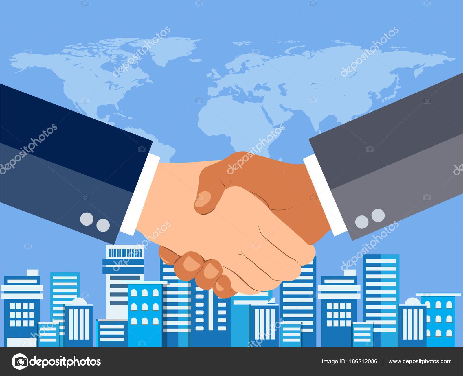 Zitternden Händen Flache Design Konzept Handshake ...