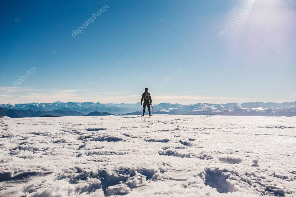 man standing on Mount Somers