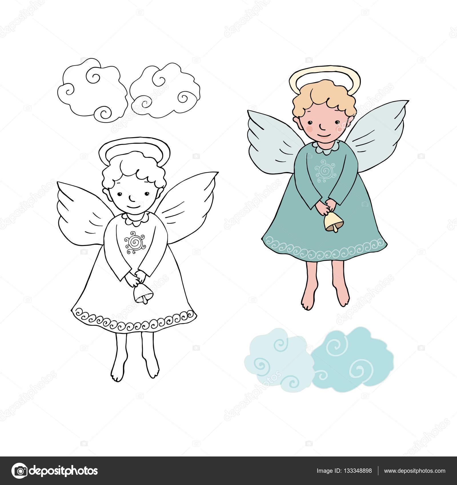 Lindo angel de Navidad con la campana en estilo de dibujos animados ...