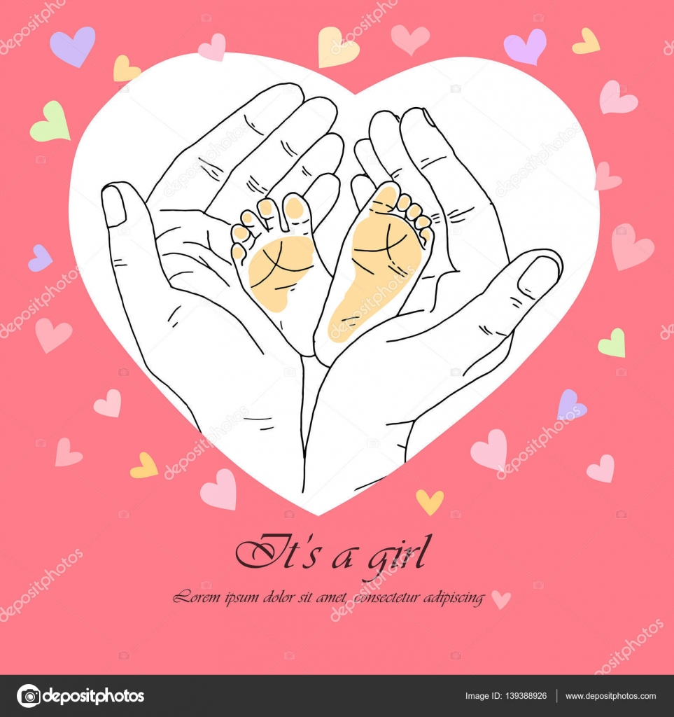 Greeting card its a girl stock vector mayaiva 139388926 greeting card its a girl cute feet of newborn baby in a caring and loving hands of mother mom hands and feet baby on a pink background with hearts kristyandbryce Gallery