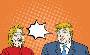 Hillary Clinton Versus Donald Trump Debate Pop Art Comic