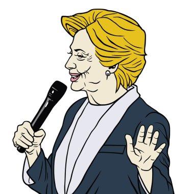 Hillary Clinton Portrait Cartoon Caricature