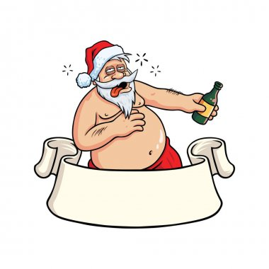 Drunk Santa Claus Drinking Booze. Christmas Greeting Card Vector
