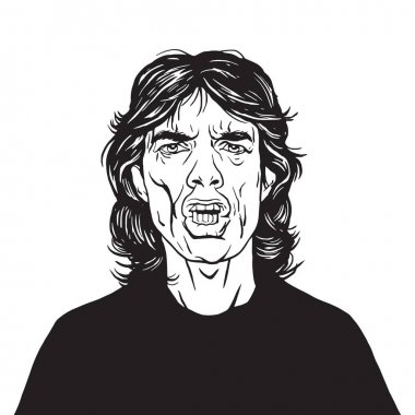 Mick Jagger Vector Portrait Drawing