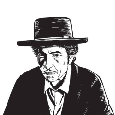 Bob Dylan Hand Drawn Drawing Vector Portrait
