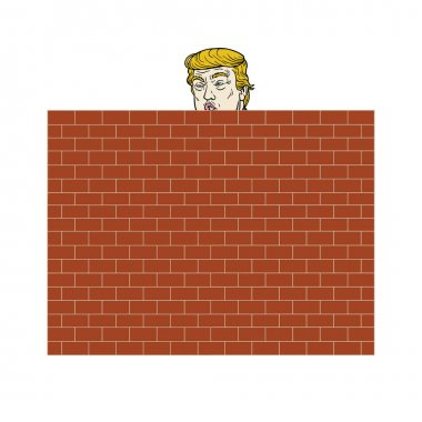 Donald Trump Behind A Brick Wall Vector Illustration