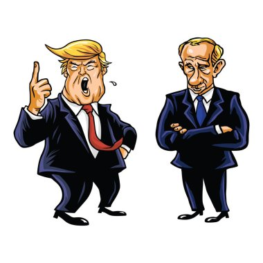 USA President Donald Trump and Russian President Vladimir Putin Vector Cartoon Caricature Illustration