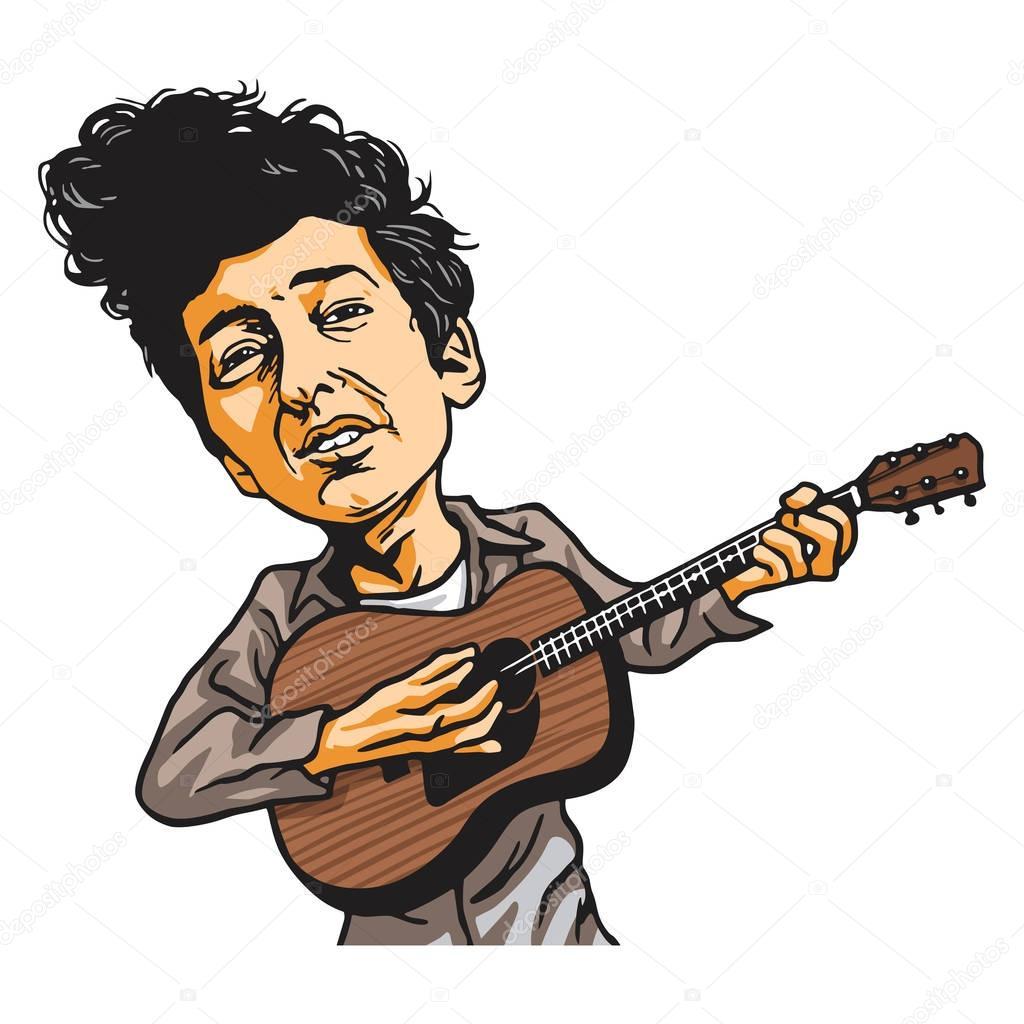 Bob Dylan Playing Guitar Cartoon Vector