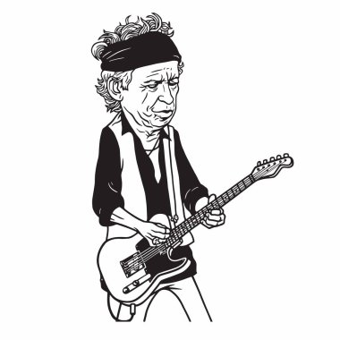 Keith Richards of The Rolling Stones Black and White Cartoon Caricature Portrait Illustration