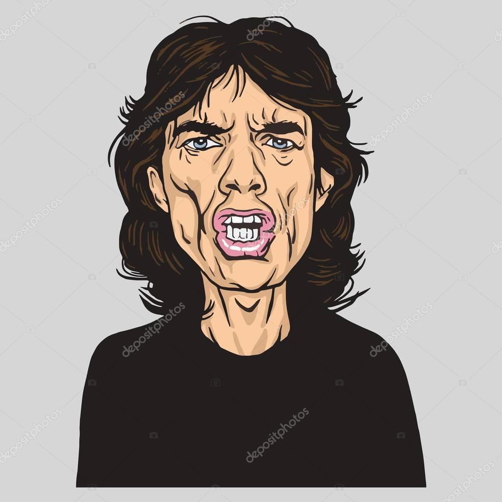 Mick Jagger of the Rolling Stones Portrait Caricature Vector Illustration