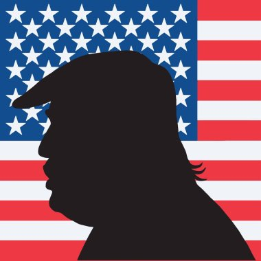 Print45th President of the United States Donald Trump Portrait Silhouette with American Flag