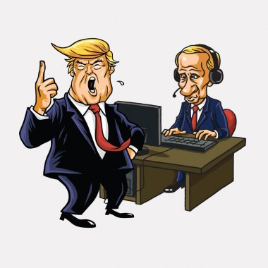 Donald Trump And Vladimir Putin in Front of His Computer. Vector Cartoon