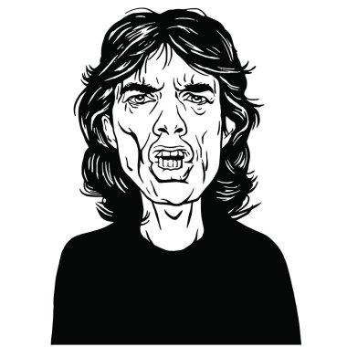 Mick Jagger Hand Drawn Portrait Vector