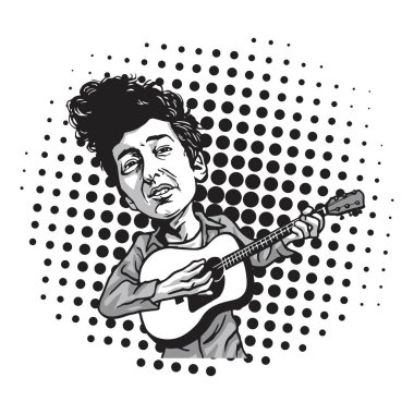bubbleBob Dylan Cartoon Playing Guitar. Black and White Cartoon in Pop Art Background Vector