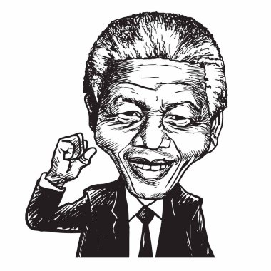Nelson Mandela Hand Drawn Portrait Caricature Vector Illustration
