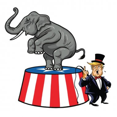 Donald Trump and Republican Elephant. Cartoon, Caricature Vector Illustration