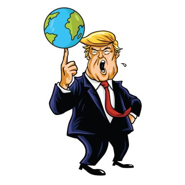Donald Trump Cartoon Playing Globe. Vector Caricature Illustration Portrait