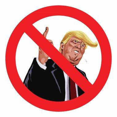 Anti Trump Sign Vector Illustration Icon
