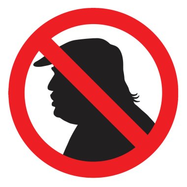 Anti President Donald Trump Silhouette Sign. Vector Icon Illustration