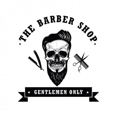 Skull Vintage Barber Shop Logo Design Template Vector Illustration