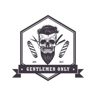 Skull Barber Shop Hexagonal Logo Retro Vintage Design Template Vector