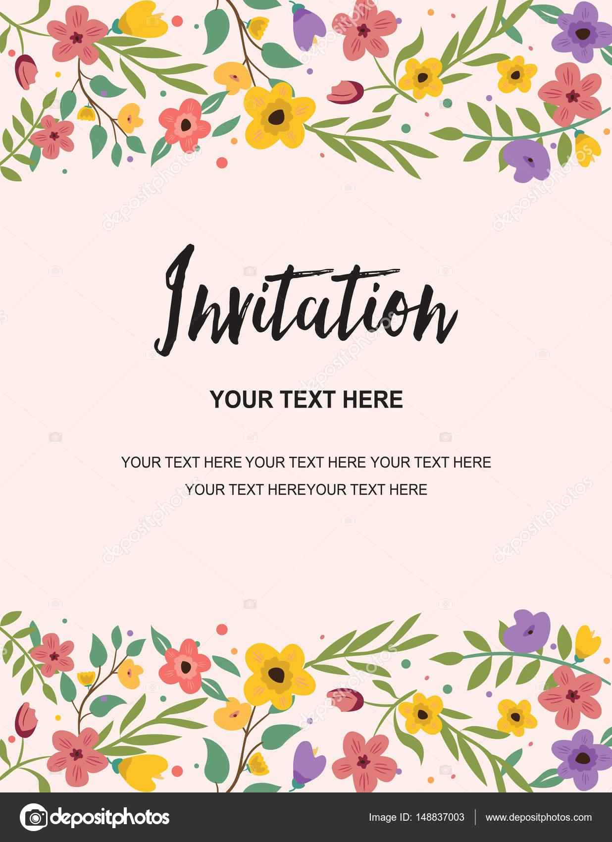 Bruiloft En Verjaardag Uitnodiging Retro Kaartsjabloon Kleurrijke