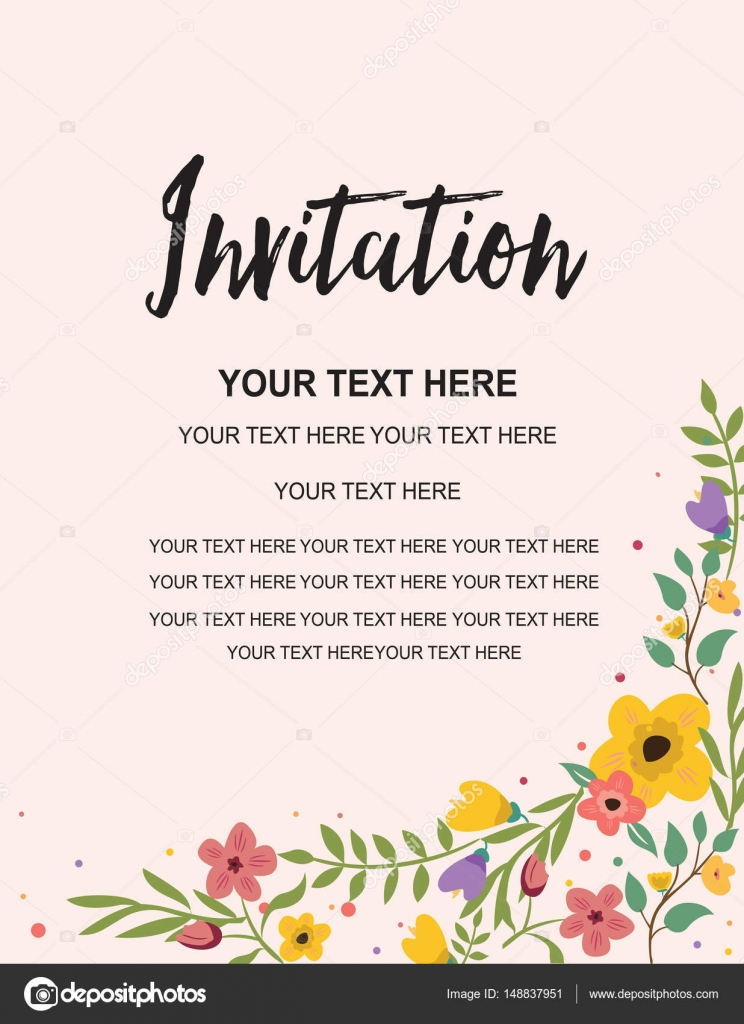 Party Invitation Card Template Colorful Floral Illustration Vector Creative Design Stock