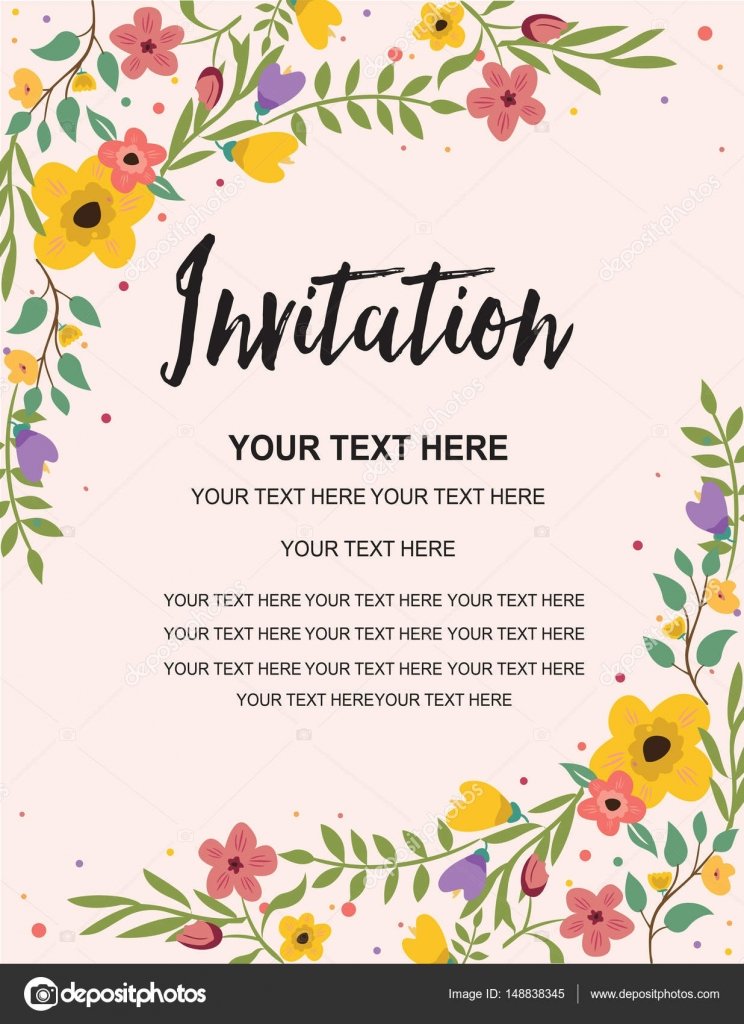 Anniversary Party Invitation Card Template. Colorful Floral ...