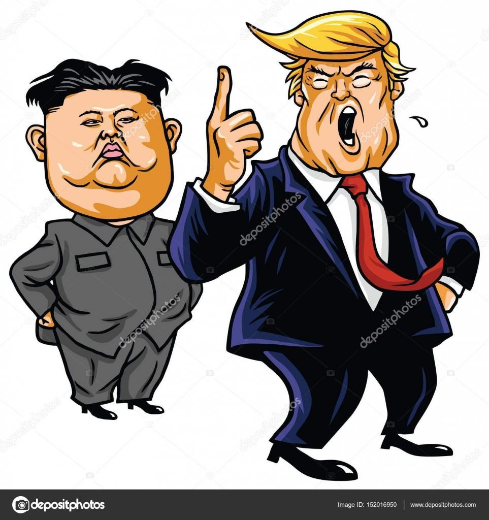 Donald Trump With Kim Jong Un Cartoon Vector Stock Vector