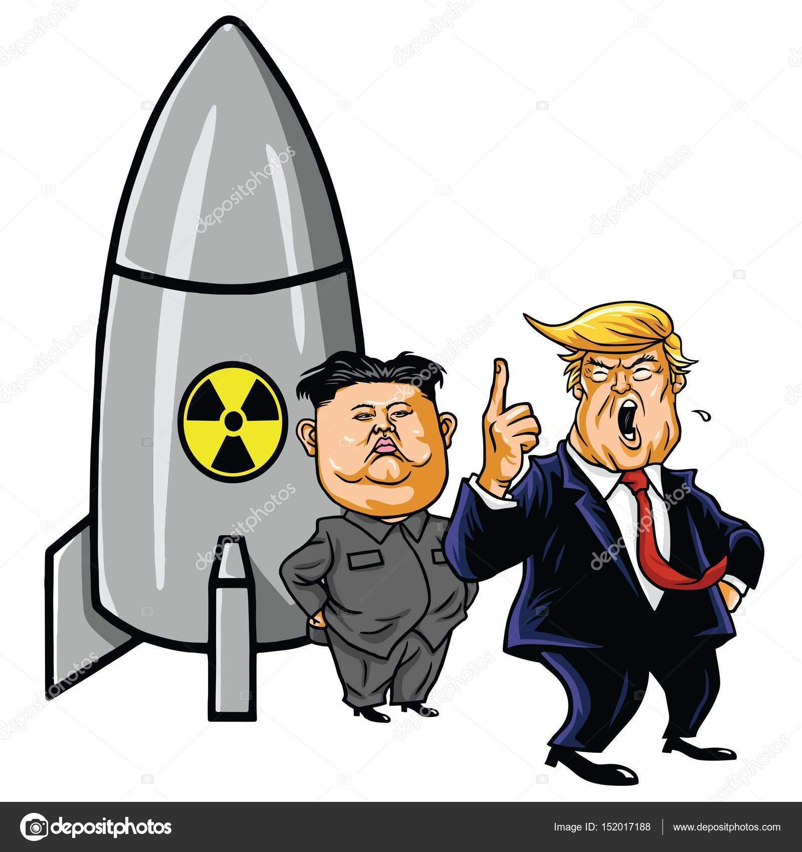 Kim Jong Un Versus Donald Trump Cartoon Vector Illustration