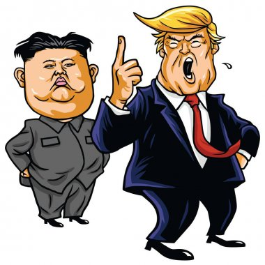 Donald Trump with Kim Jong-un Cartoon Vector