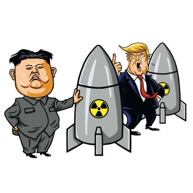 Kim Jong-un vs Donald Trump. Cartoon Vector Illustration