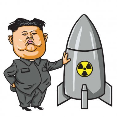 Kim Jong-un with Nuclear Missile Cartoon Vector Illustration