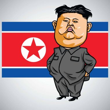 Kim Jong-un Cartoon with North Korea Flag. Vector Illustration