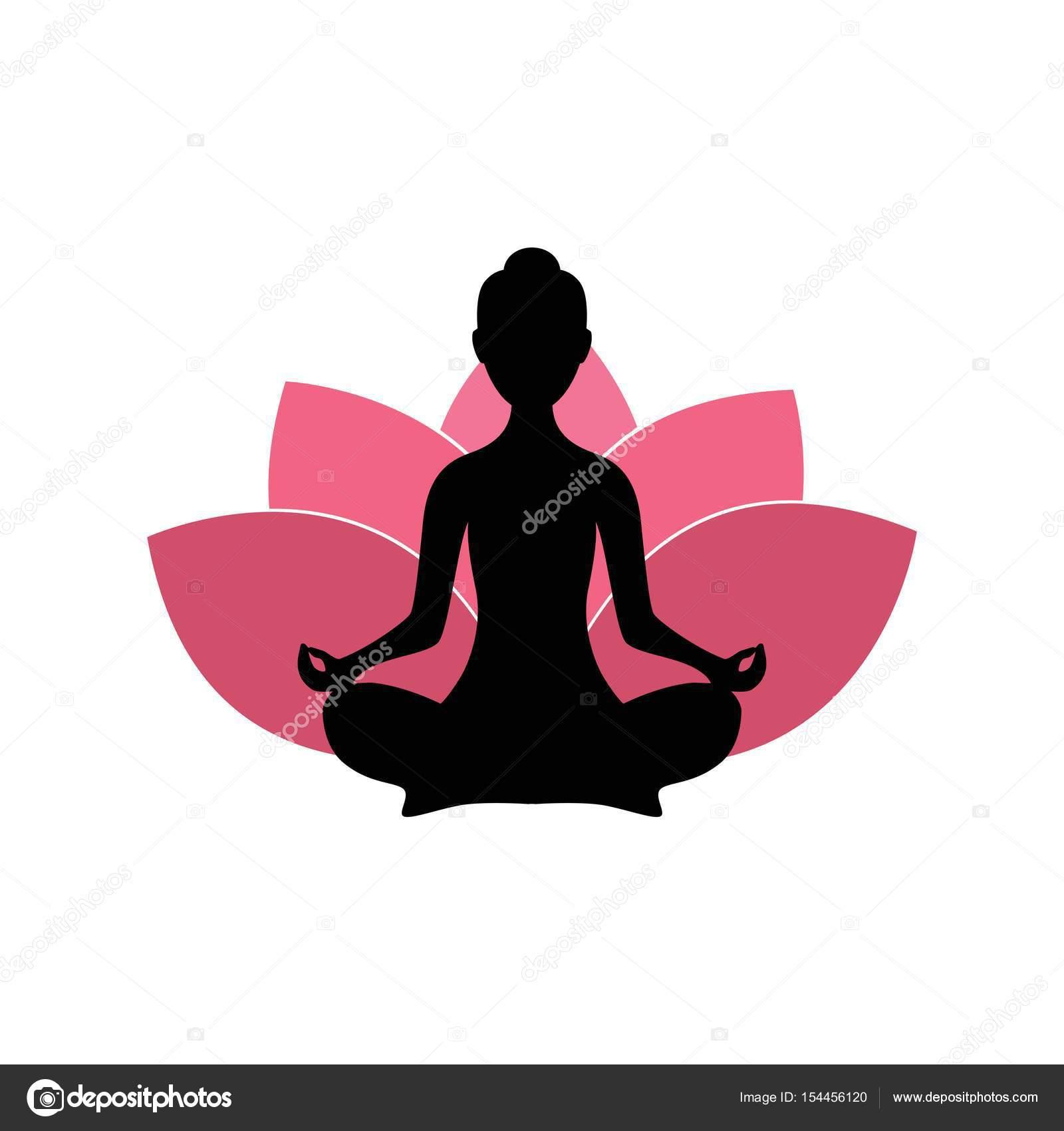Yoga-Frauen-Silhouette, rosa Lotus Blume Logo Design-Vorlage ...