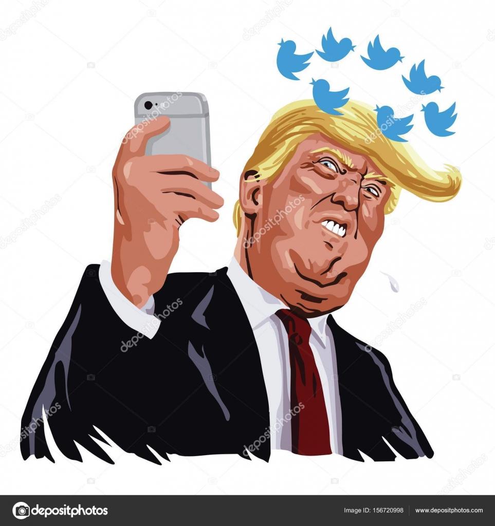 Donald Trump With His Social Media Updates Cartoon Vector