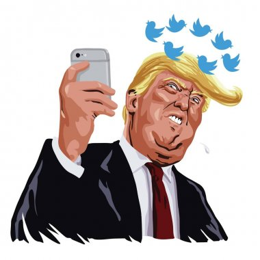 Donald Trump With His Social Media Updates. Cartoon Vector Caricature Illustration