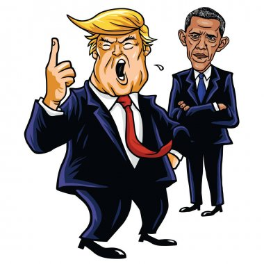 Donald Trump and Barack Obama. Cartoon Caricature Vector Illustration. June 29, 2017