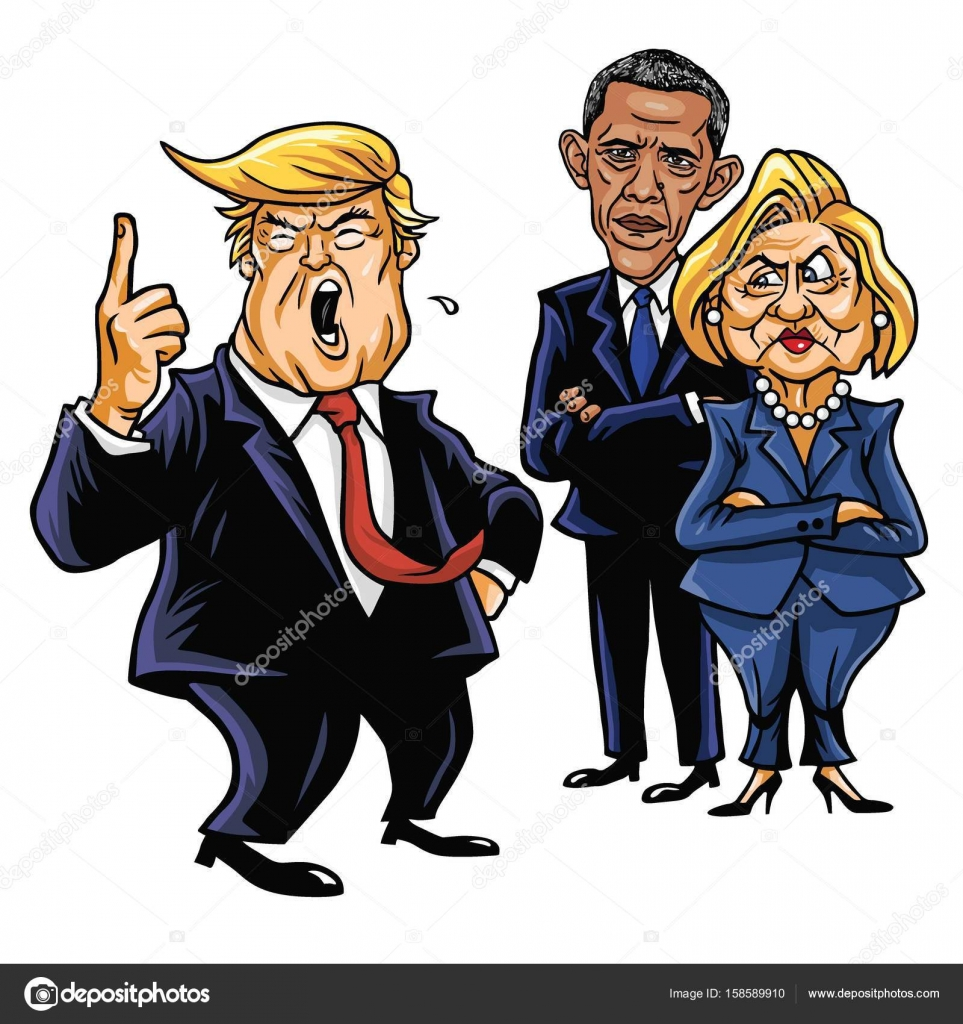 Completely new Donald Trump, Hillary Clinton, and Barack Obama. Cartoon  XF93