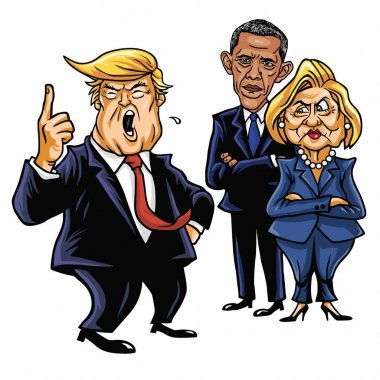 Donald Trump, Hillary Clinton, and Barack Obama. Cartoon Caricature Vector Illustration. June 29, 2017