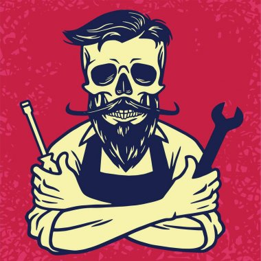 Skull Biker Mechanic Vector Design