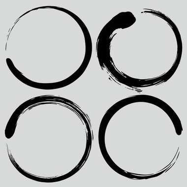 Enso Zen Circle Brush Set. Vector Painting Illustration