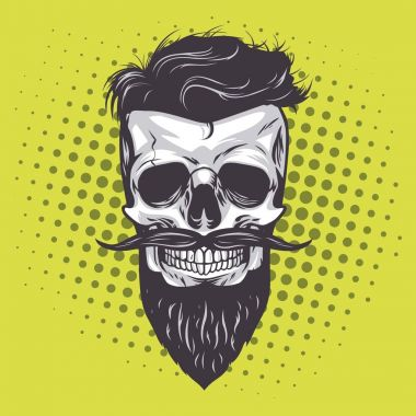 Hipster Skull Pop Art Vector Illustration