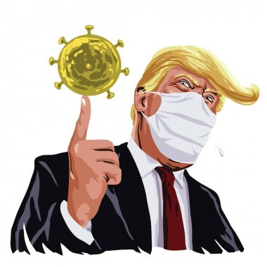 Donald Trump Wearing Mask Anti Corona Virus Covid 19 on Face Cartoon Vector Illustration Drawing. March 17 , 2020