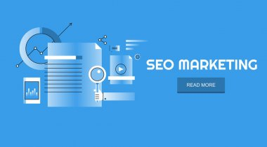Flat design concept of SEO marketing, Search engine optimization, Analytics vector banner isolated on blue background