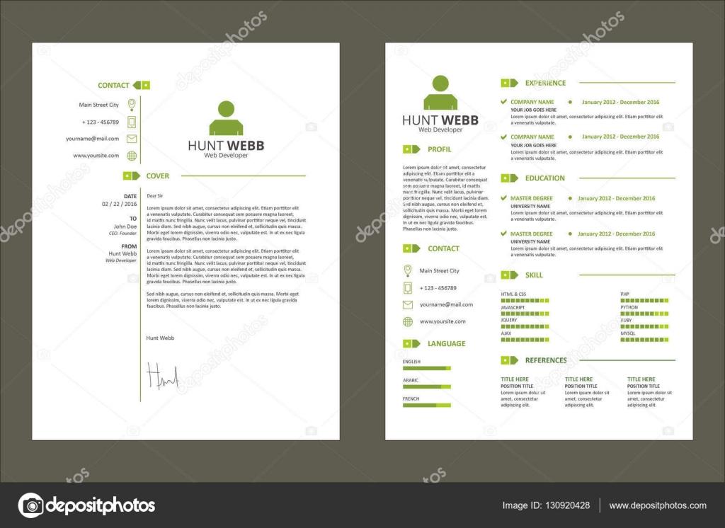 CV Lebenslauf einfache Tag saubere grüne Vorlage Vector ...