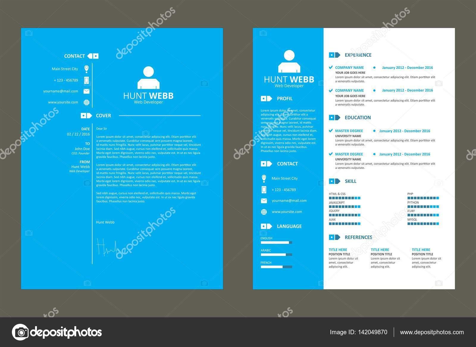 curriculum vitae cv bleu template vecteur  u2014 image