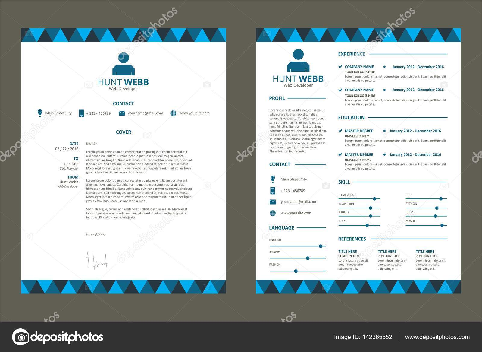 cv curriculum vitae resume blue color pattern vector by hendramaroongmailcom